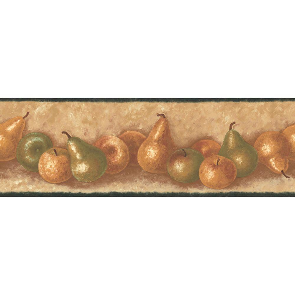 The Wallpaper Company 6.83 in. x 15 ft. Green and Brown Earth Tone Traditional Fruit Border