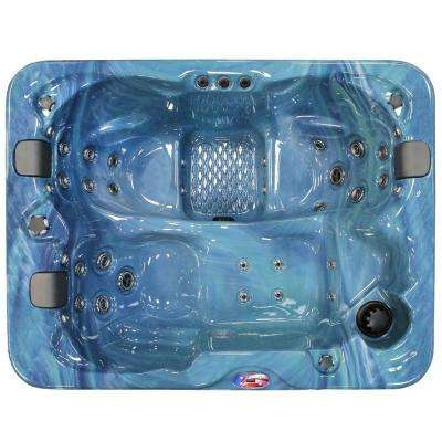 3-Person 34-Jet Lounger Spa Hot Tub with Bluetooth Stereo System, Subwoofer and Backlit LED Waterfall