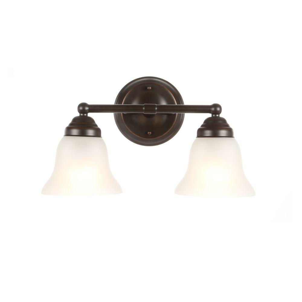 Hampton Bay 2-Light Oil Rubbed Bronze Vanity Light with Frosted Glass Shades
