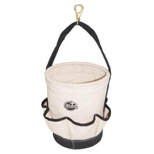 12 in. 6-Pocket Utility Tapered Ripstop Canvas Tool Bucket with Leather Bottom