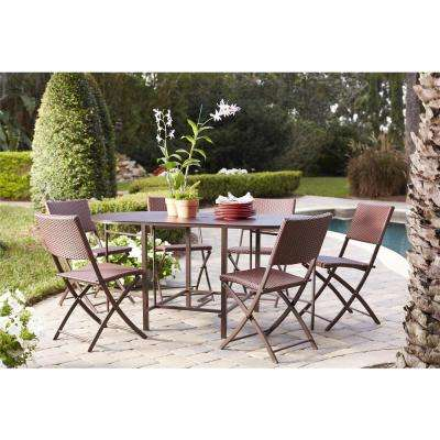 Delray Transitional 7- Piece Steel Brown & Red Woven Wicker Compact Folding Patio Dining Set