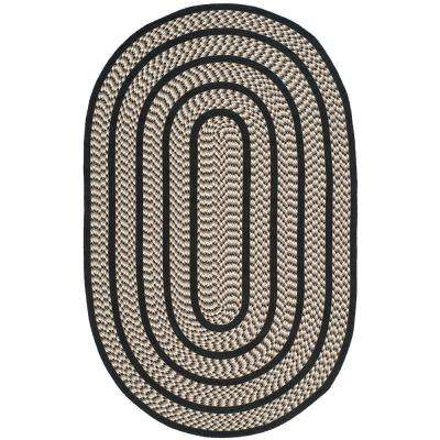 Braided Ivory/Black 5 ft. x 8 ft. Oval Area Rug