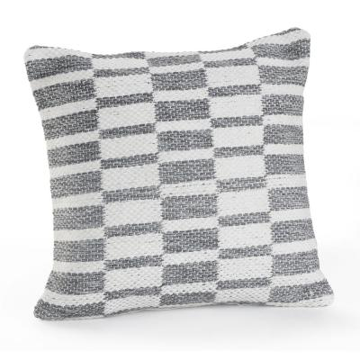 Alternate Blocks Grey and White Geometric Hypoallergenic Polyester 18 in. x 18 in. Throw Pillow