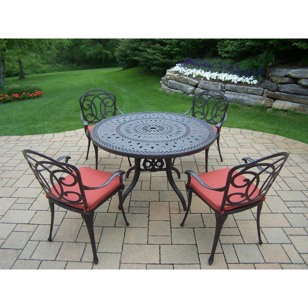 Terrific Berkley 5 Piece Aluminum Outdoor Dining Set With Red Cushions Theyellowbook Wood Chair Design Ideas Theyellowbookinfo