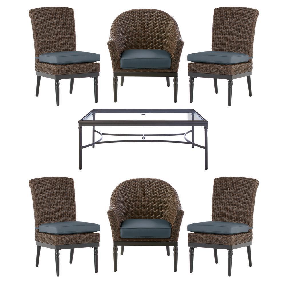 Camden Dark Brown 7-Piece Wicker Outdoor Patio Dining Set with Sunbrella Denim Blue Cushions