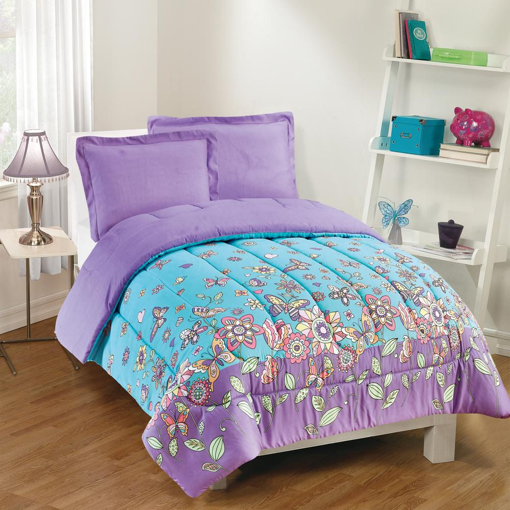 Butterfly Dreams 3-Piece Lavender Full Comforter Set