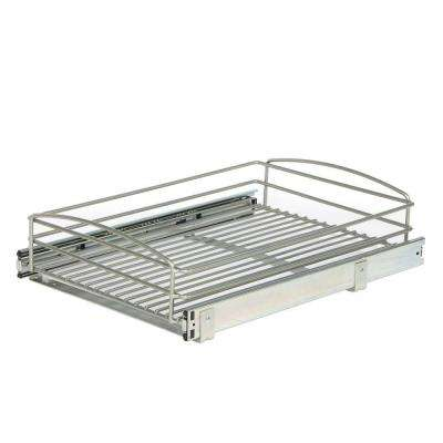 5 in. H x 15 in. W x 20 in. D Multi-Use Pull-Out Basket Cabinet Organizer in Silver