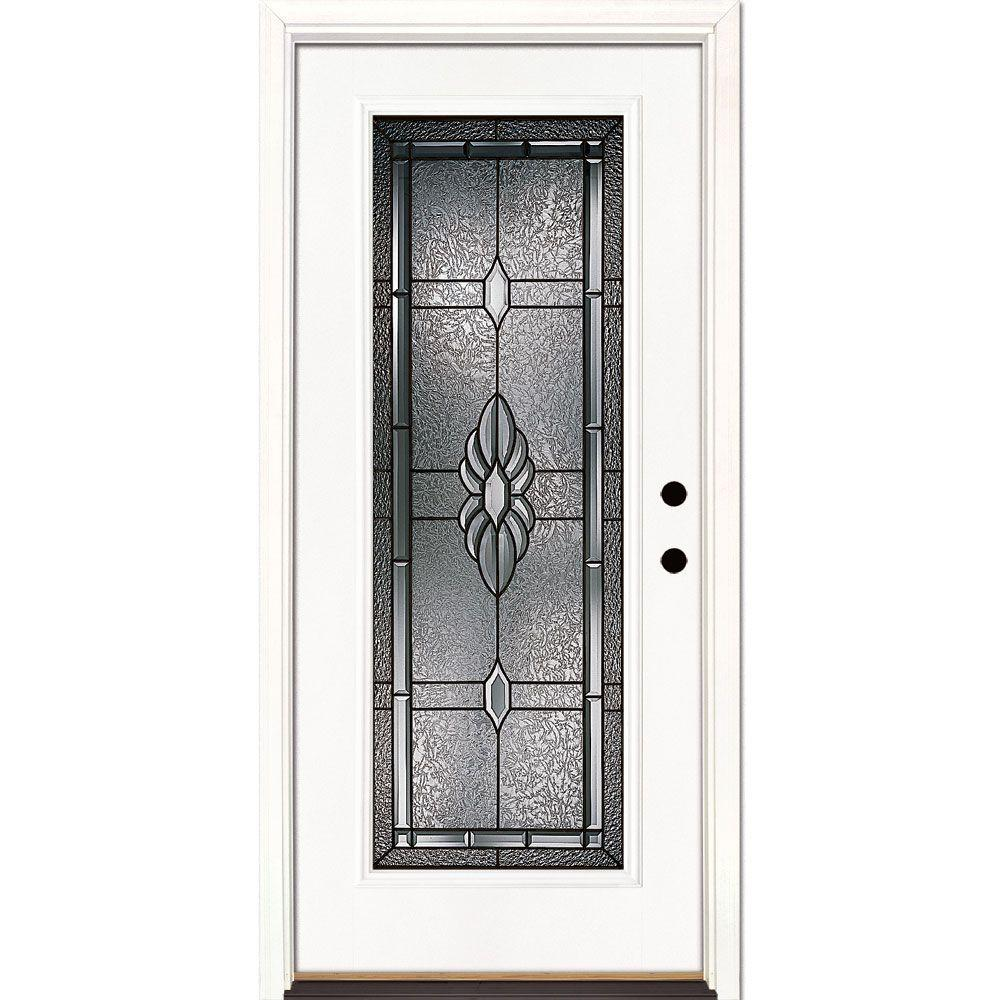 Feather River Doors 33.5 in. x 81.625 in. Sapphire Patina Full Lite Unfinished Smooth Left-Hand Inswing Fiberglass Prehung Front Door