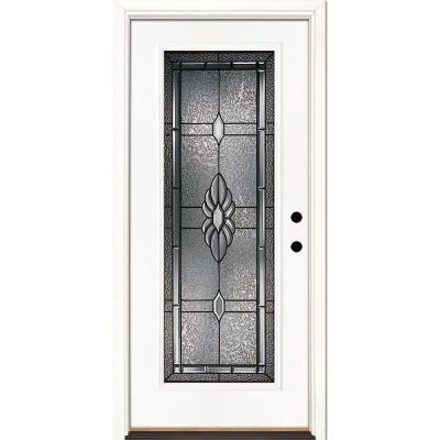 37.5 in. x 81.625 in. Sapphire Patina Full Lite Unfinished Smooth Left-Hand Inswing Fiberglass Prehung Front Door