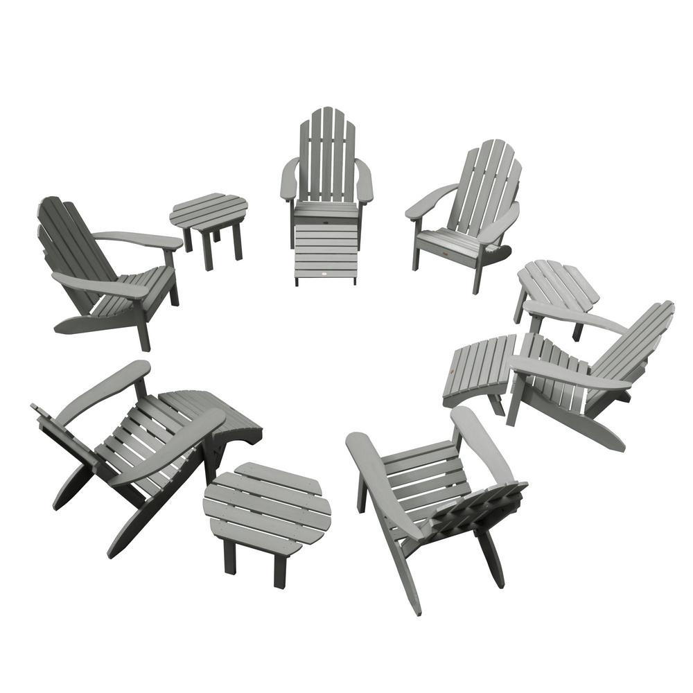 Highwood Classic Wesport Coastal Teak 12-Piece Plastic Patio Fire Pit Seating Set