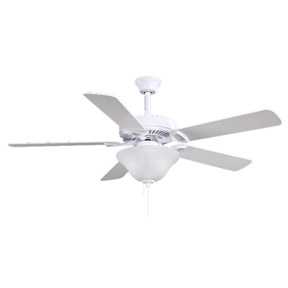 Atlas America 52 in. Indoor Gloss White Ceiling Fan with Pull Chain