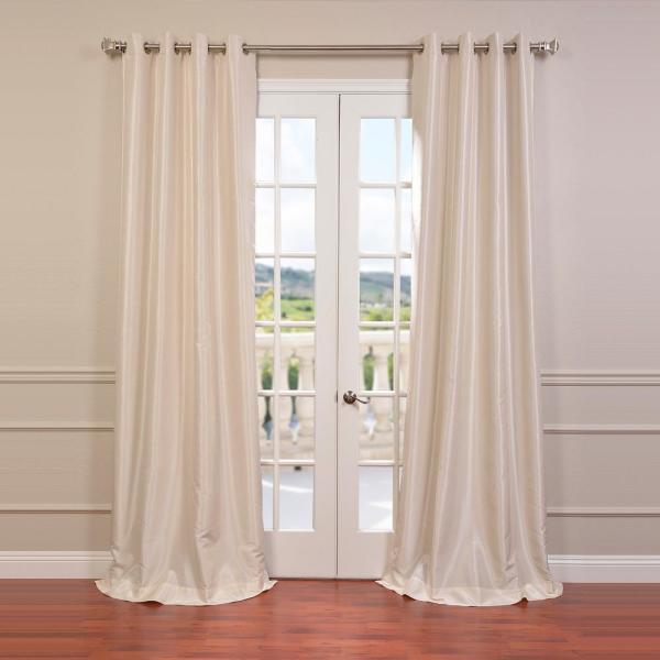 Off White Grommet Blackout Vintage Textured Faux Dupioni Silk Curtain - 50 in. W x 96 in. L