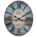 Turquoise Oval Wood Wall Clock