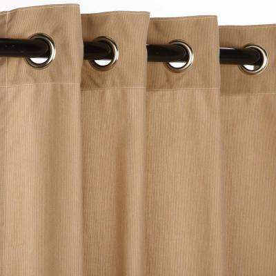 50 in. x 108 in. Outdoor Single Curtain with Nickel Grommets in Sand