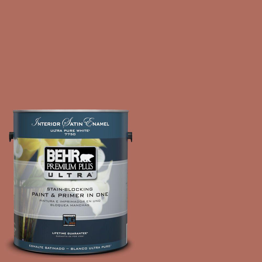 BEHR Premium Plus Ultra 1-Gal. #UL120-17 Terra Cotta Urn Interior Satin Enamel Paint
