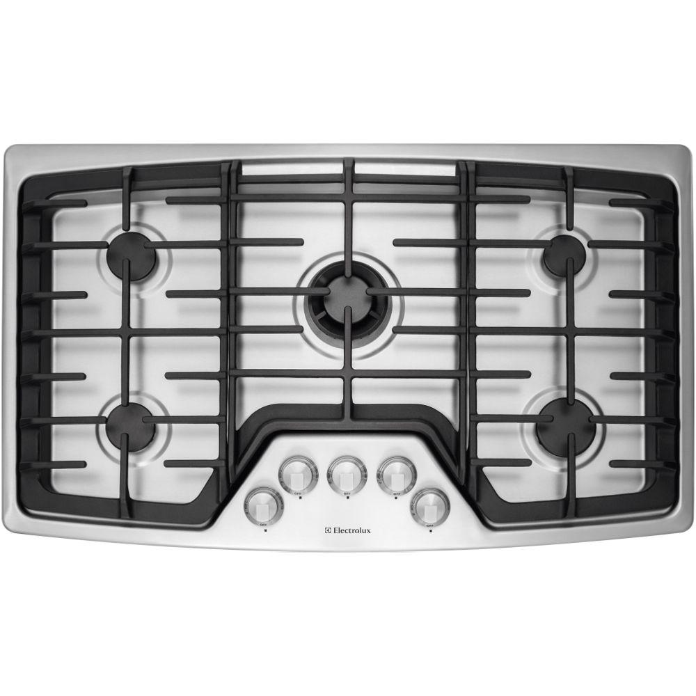 gas cooktop in stainless steel with 5 burners and min