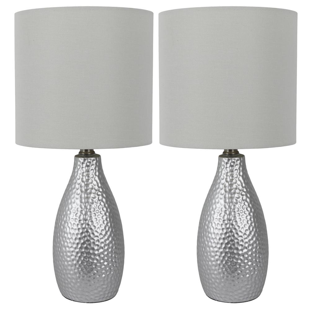 Silver Ceramic Led Table Lamps With Shade Set Of 2