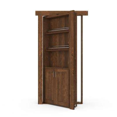36 in. x 80 in. Flush Mount Assembled Forward Pantry Door Alder Medium Stained Left-Hand Inswing