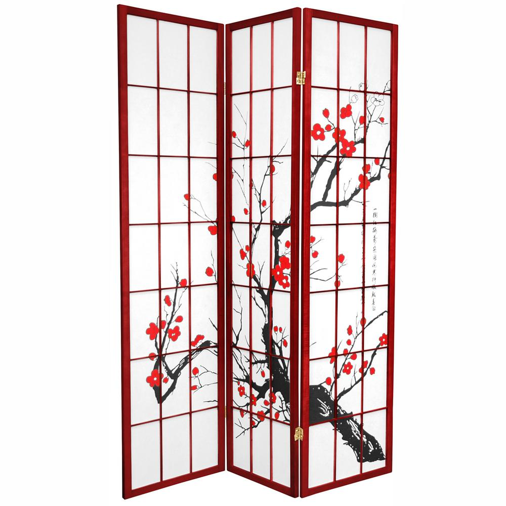 6 ft Rosewood 3 Panel Room Divider BLOSSOM RWD 3P The Home Depot