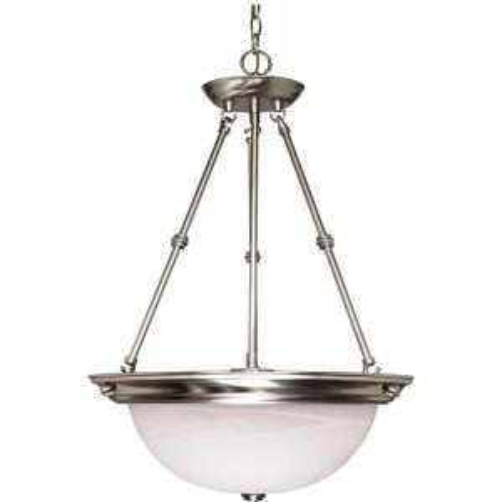 3-Light Brushed Nickel Bowl Pendant