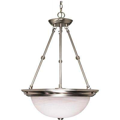 3-Light Brushed Nickel Bowl Pendant