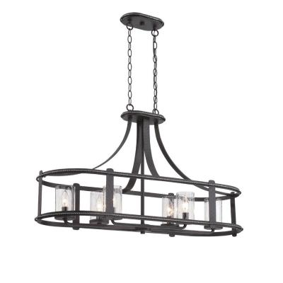 Palencia 6-Light Artisan Pardo Wash Interior Incandescent Island Pendant