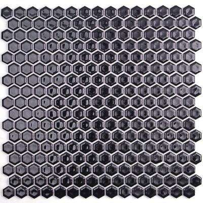 Bliss Hexagon Black Polished Ceramic Mosaic Floor and Wall Tile - 3 in. x 6 in. Tile Sample
