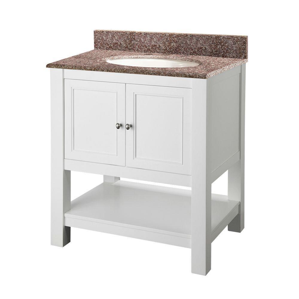 Gazette 30 in. Vanity in White with Granite Vanity Top in Montero