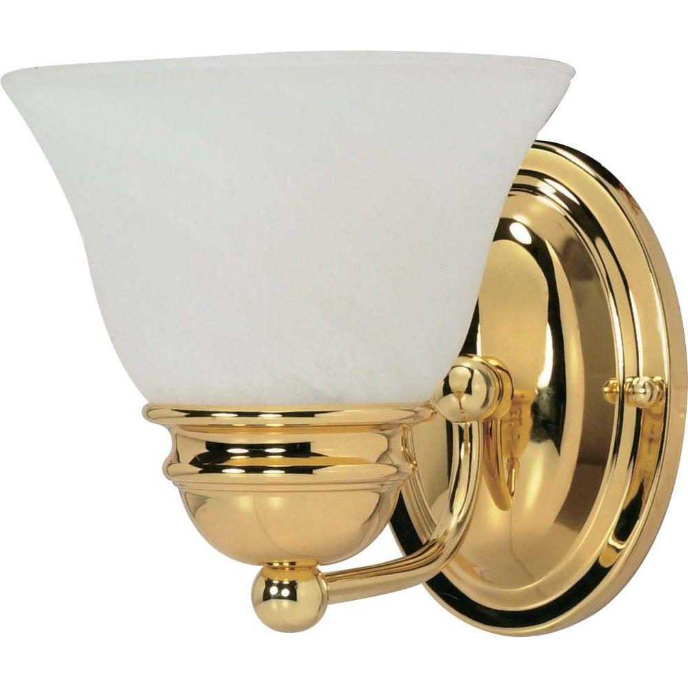 Glomar Nuwa Light Polished Brass Bath Vanity Light With Alabaster - Brass bathroom sconce