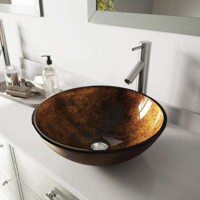 Glass Vessel Bathroom Sink in Russet and Dior Faucet Set in Brushed Nickel