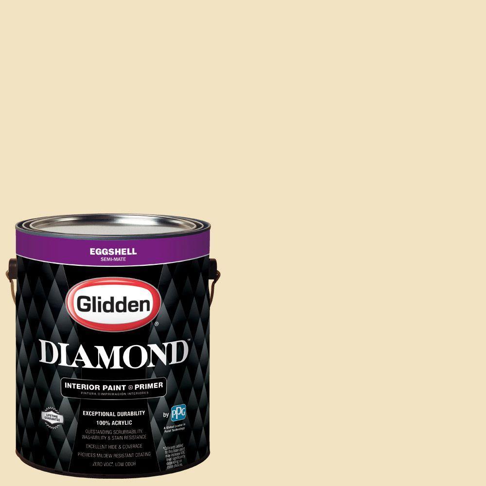 Interior Paint Coverage Per Gallon: Glidden Diamond 1 Gal. #HDGY35 Boston Cream Eggshell