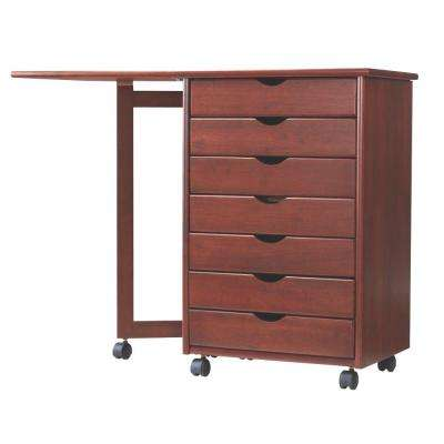 Stanton 21 in. W Single Gate Leg Storage Cart in Dark Cherry