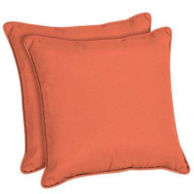 Superbe Sunbrella Canvas Melon Square Outdoor Throw Pillow (2 Pack)