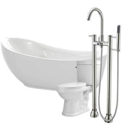 Talyah 71 in. Acrylic Flatbottom Non-Whirlpool Bathtub in White with Sol Faucet and Talos 1.6 GPF Toilet
