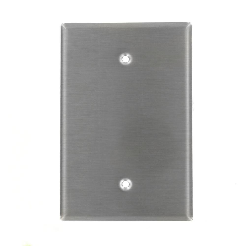 1-Gang No Device Blank Wallplate, Oversized, 302 Stainless Steel, Box Mount,