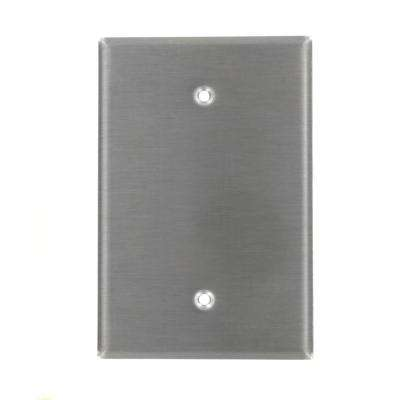 1-Gang No Device Blank Wallplate, Oversized, 302 Stainless Steel, Box Mount, Stainless Steel