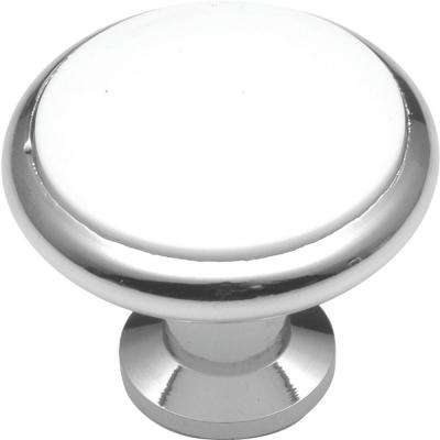 Tranquility 1-3/8 in. White Porcelain Polished Chrome Cabinet Knob