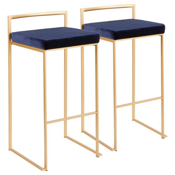 Lumisource Fuji 30 in. Gold Stackable Bar Stool with Blue Velvet Cushion (Set of 2)