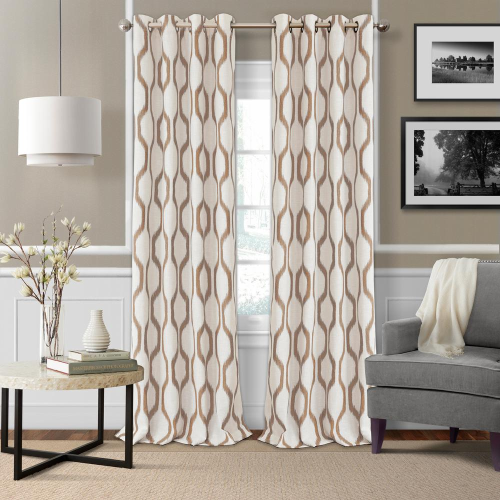 Elrene Renzo Blackout Room Darkening Grommet 95 In. Linen Window Curtain  Drape Panel In Natural