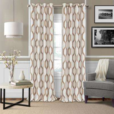 Blackout Blackout Room Darkening Grommet 95 In. Linen Window Curtain ... Part 49