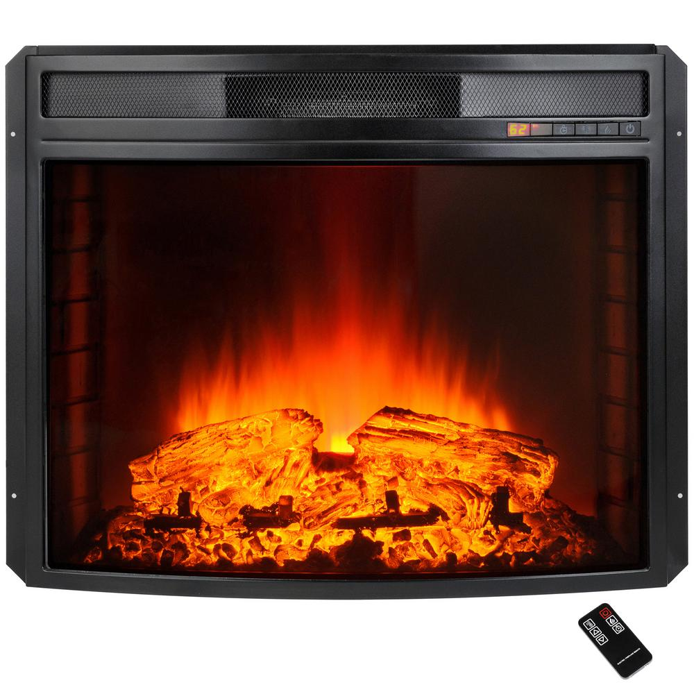 Create the look of a genuine wood fire with AKDY Freestanding Electric Fireplace Insert Heater in Black with Curved Tempered Glass and Remote Control.