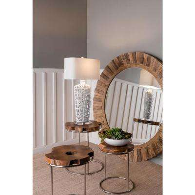 Natural Teak and Nickel Stacking End Table (Set of 3)