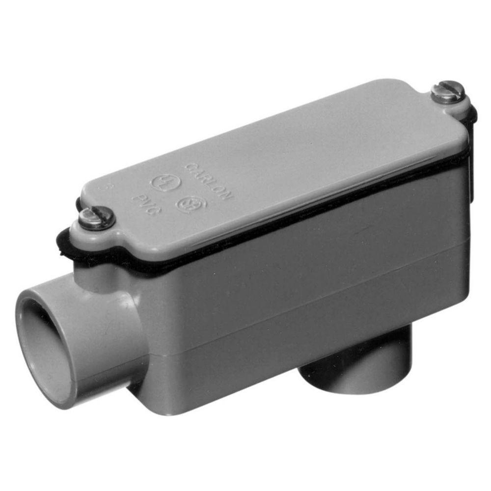 Carlon 1-1/4 in. Sch. 40 and 80 PVC Type-LB Conduit Body (Case of 6)
