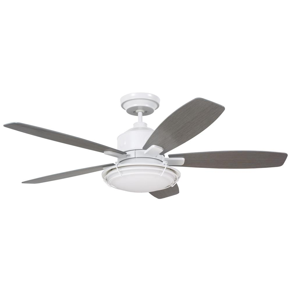 Hunter caraway 44 in indoor white ceiling fan with light 52080 the home depot - Curved blade ceiling fan ...
