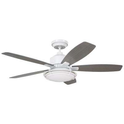 Rockpointe 54 in. Indoor/Outdoor Satin White Ceiling Fan