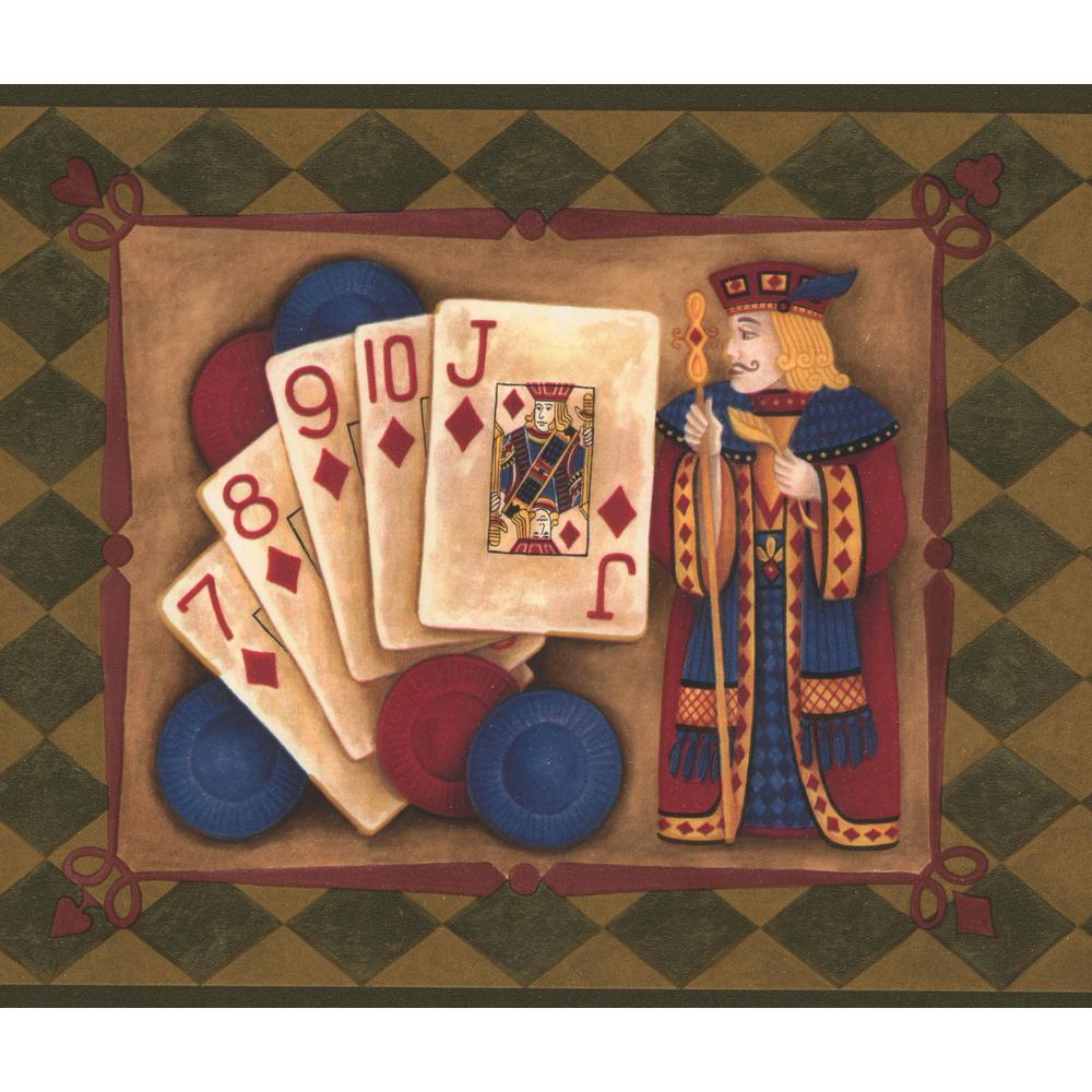 Poker Vintage Laurel Green Plaid with Poker Combinations Prepasted Wallpaper Border