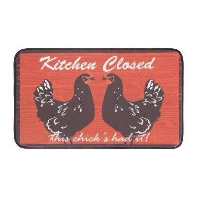 Kitchen Closed 18 in. x 30 in. Anti-Fatigue Faux Leather Kitchen Mat
