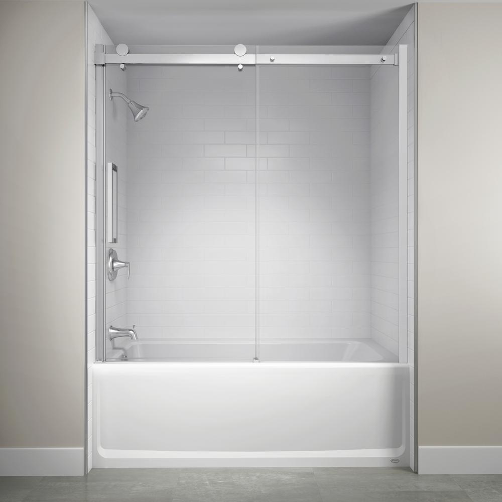 60 in. x 59 in. Semi-Frameless Exposed Sliding Shower Door in Chrome