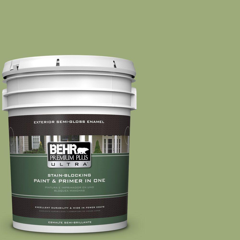 BEHR Premium Plus Ultra 5-gal. #BIC-12 Siamese Green Semi-Gloss Enamel Exterior Paint