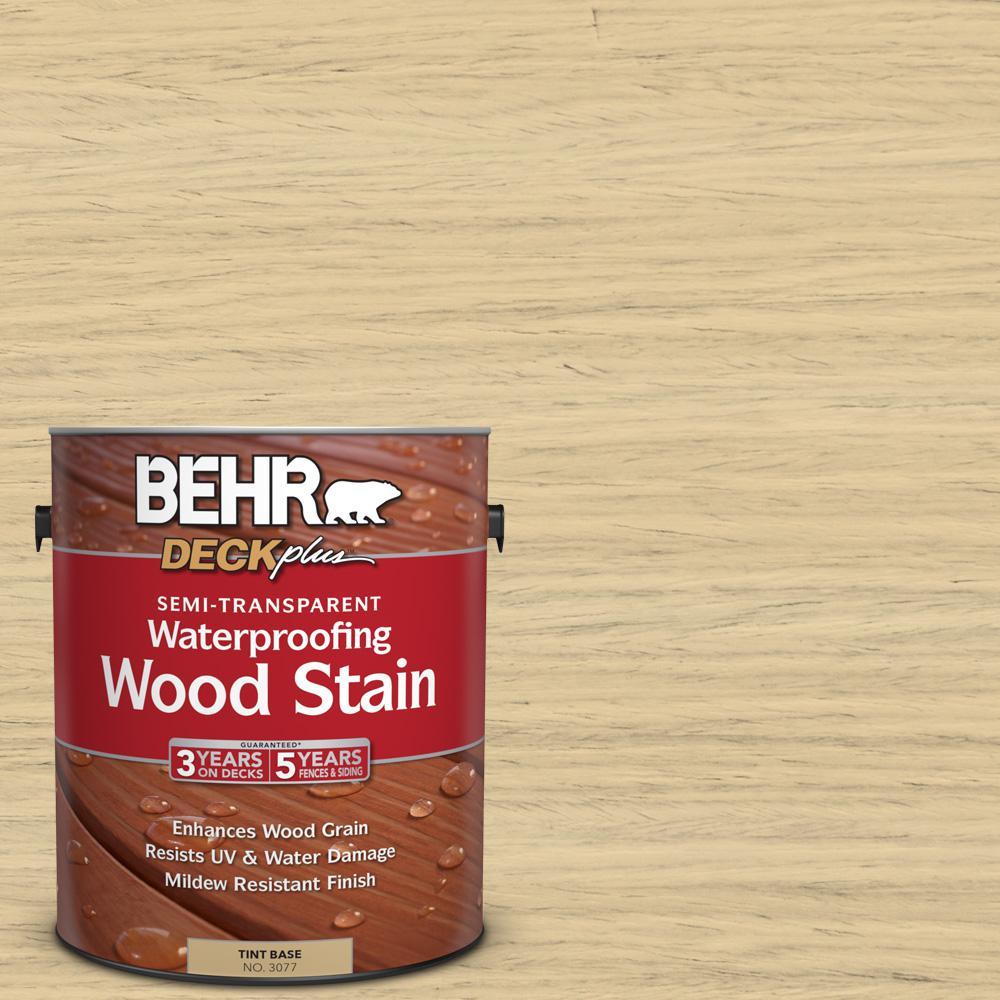 BEHR DECKplus 1 gal. #ST-133 Yellow Cream Semi-Transparent Waterproofing Wood Stain